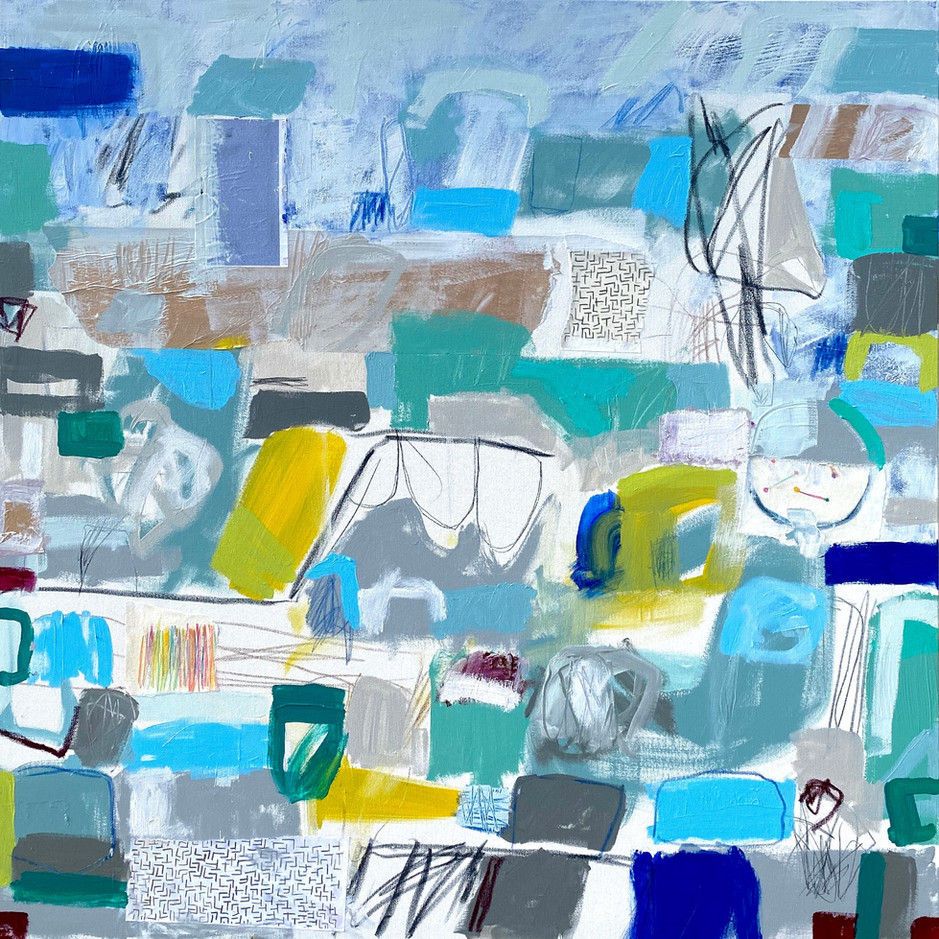 """Other Words for Blue #2, 48"""" x 48"""", mixed media on canvas, 2020"""