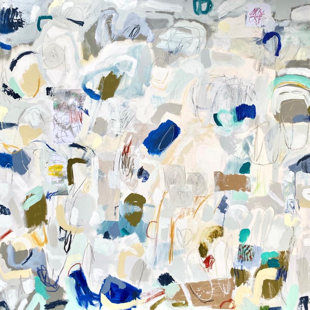 "Rain, 48"" x 48"", mixed media on canvas"