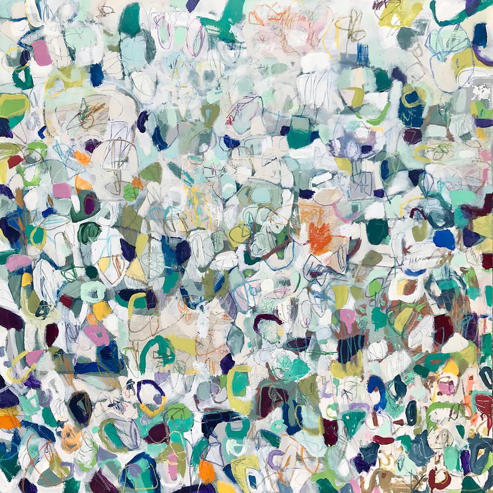 """Shade Tree, 48"""" x 48"""", mixed media on canvas, 2018"""