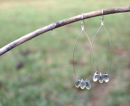 Long earrings with tear drop crystals