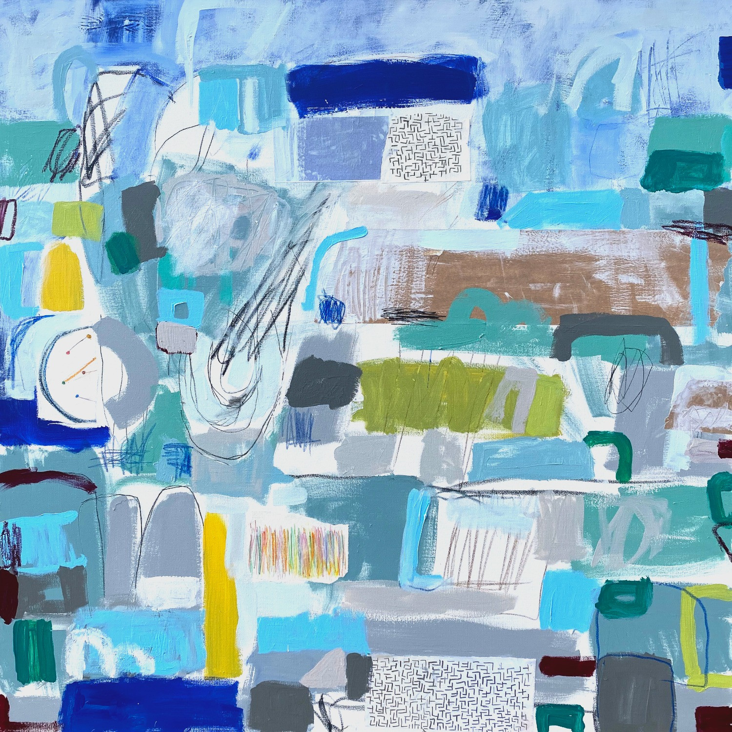 "Other Words for Blue #1, 48"" x 48"", mixed media on canvas, 2020"