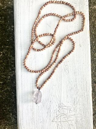 Granite Beads with Amethyst Pendant