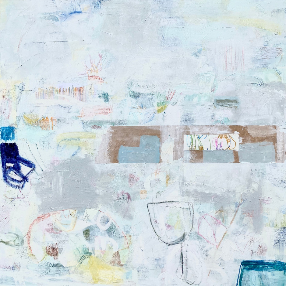 Blue Chair, 48x48, mixed media on canvas, 2020