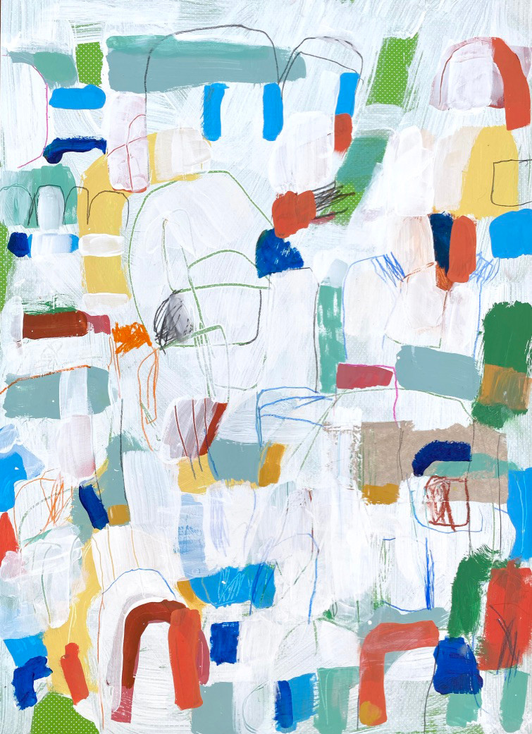 Portuguese Playground #10, 28 x 20, mixed media on paper, 2019