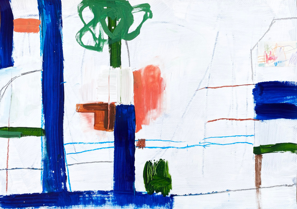 Portuguese Playground #7, 28 x 20, mixed media on paper, 2019