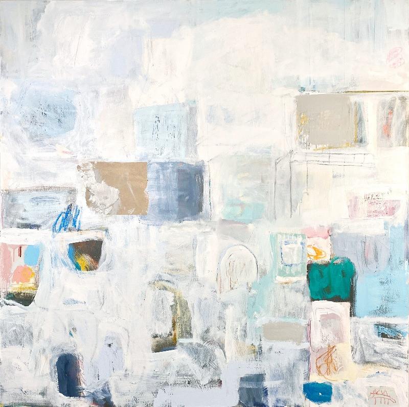 Phaze II, 48x48, mixed media on canvas, 2020