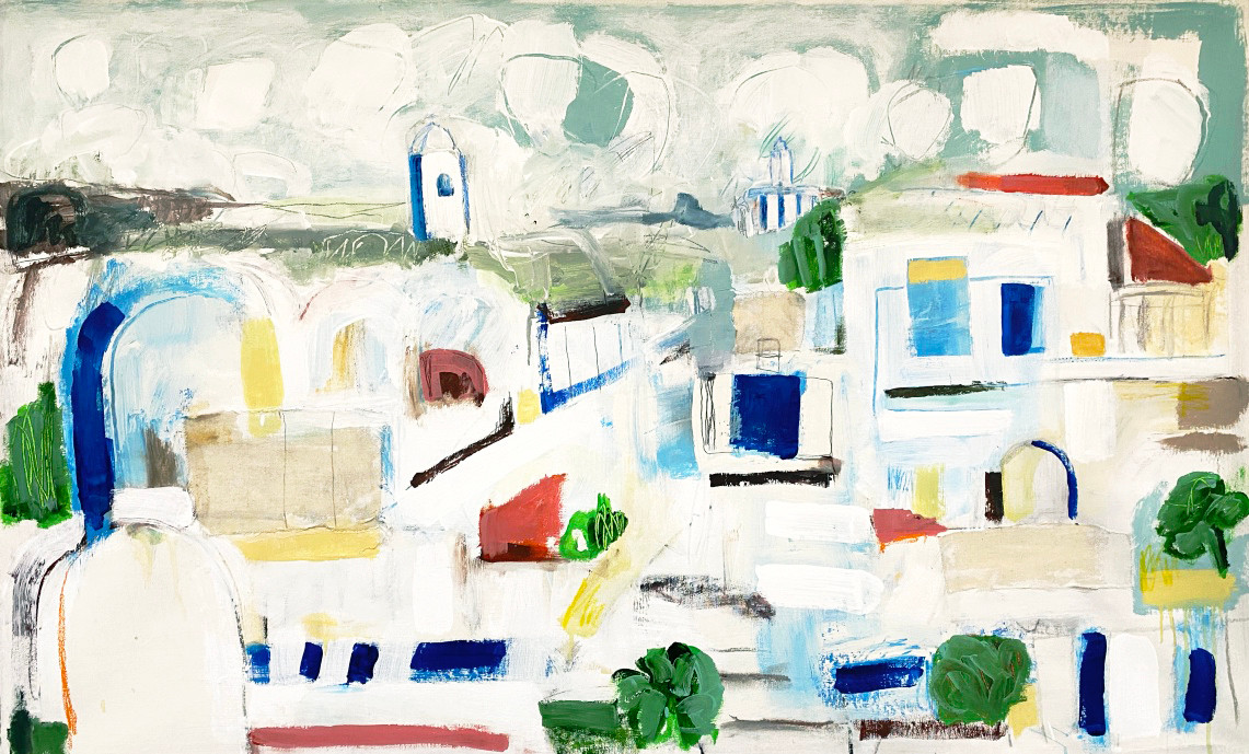 "Messejana Village, 46"" x 26"", mixed media on canvas 2019"
