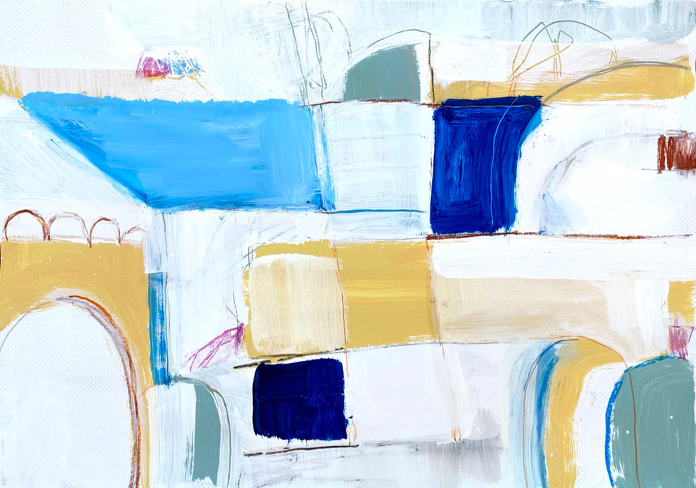Portuguese Playground #6, 28 x 20, mixed media on paper, 2019
