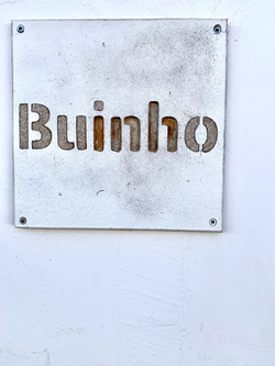 Sign on the front of the building