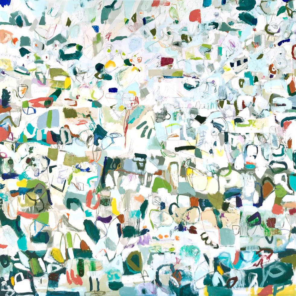 """Henbit, 72"""" x 72"""", mixed media on canvas, 2019"""