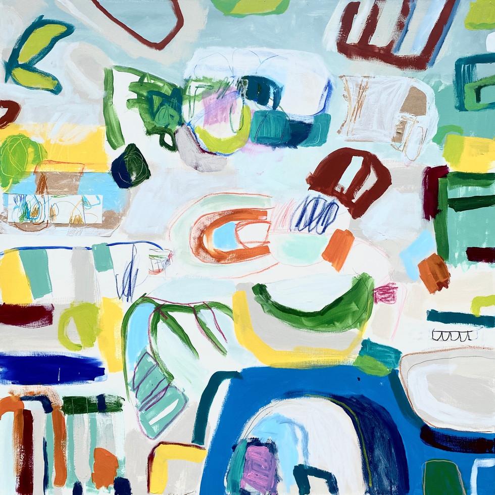 "Summer House #1, 48"" x 48"", mixed media on canvas, 2020"