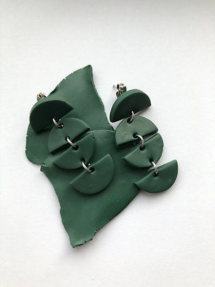 Green Half Circle Earrings