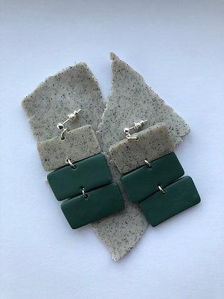 Triple Green Earrings