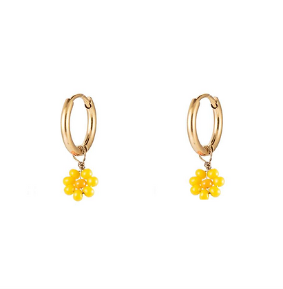 Yellow flower power earrings