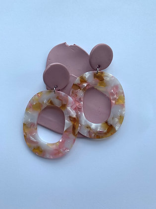 Pink Marble Earrings
