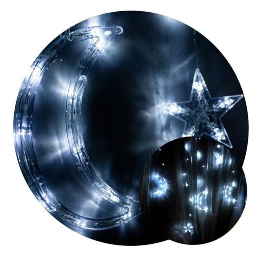 Cortina Led Lua E Estrela Branca Fria