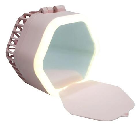Mini Ventilador Portátil Com Espelho e LED