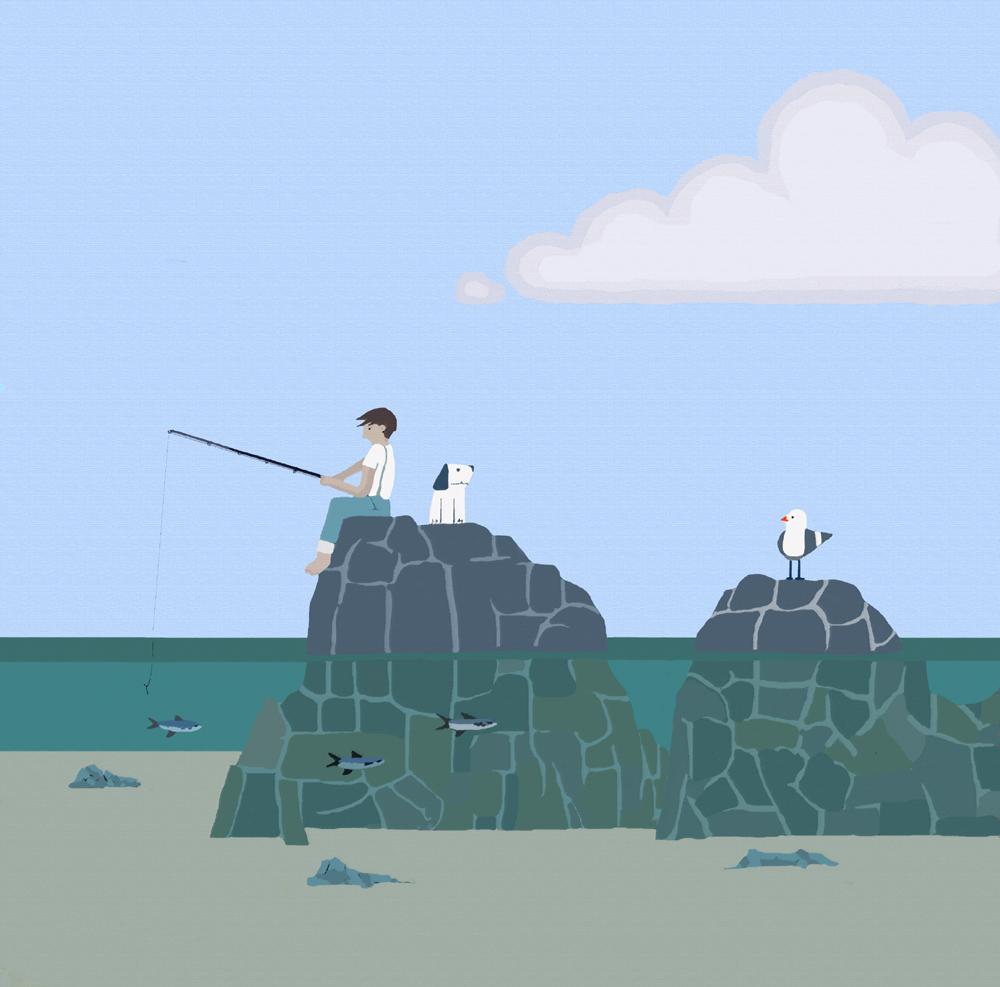 Rock fishing surrey print