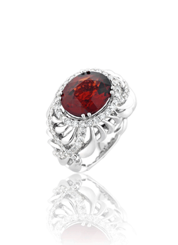 Red Garnet Diamond Ring