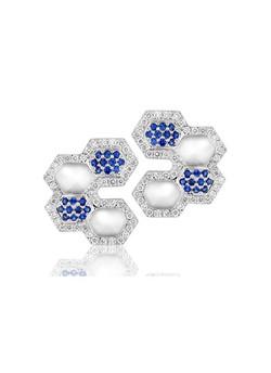 3_Cluster Sapphire Ear Studs