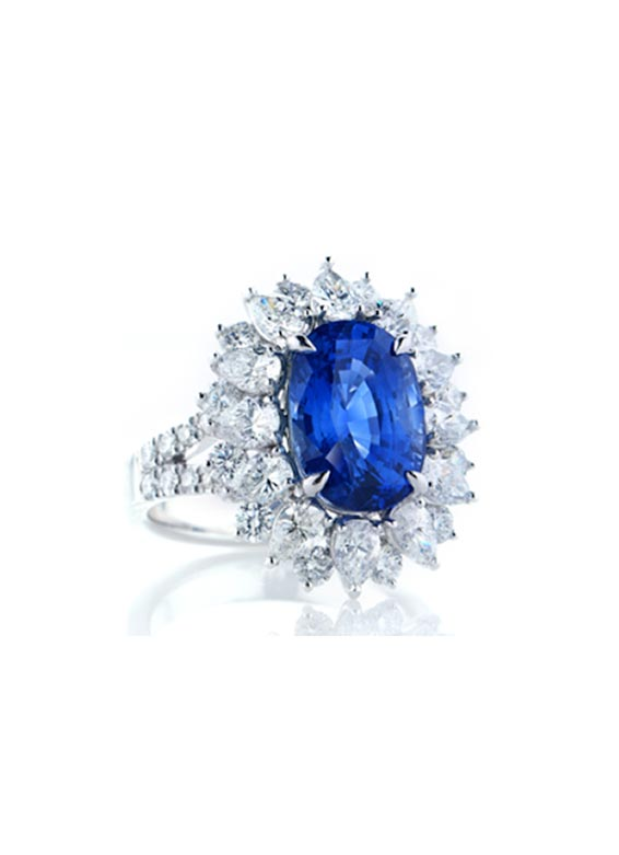 Unheat Blue Sapphire and Diamond