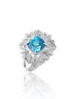 Blue Zircon Valerian Ring