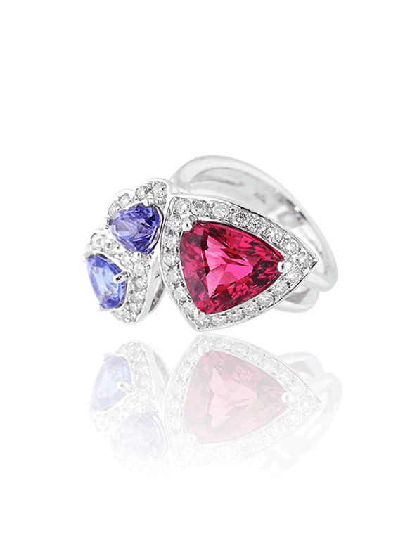 Rubellite Trillion Ring