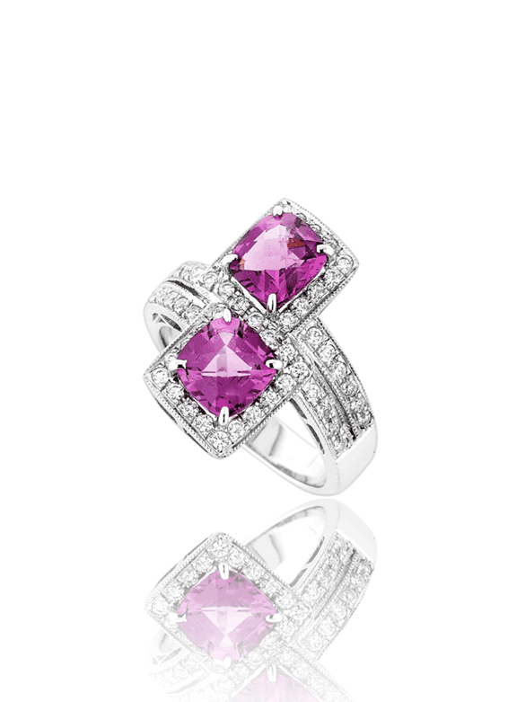 Twin Rhodolite Diamond Ring