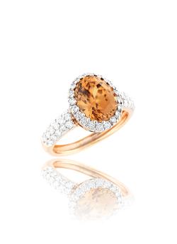 Gold Zircon Diamond Ring