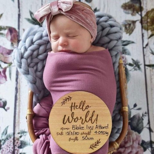 Hello World wooden plaque with birth details