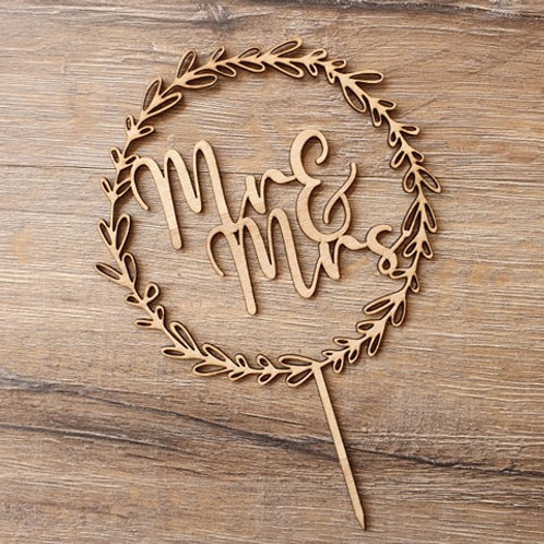 Mr and Mrs Wreath Cake Topper