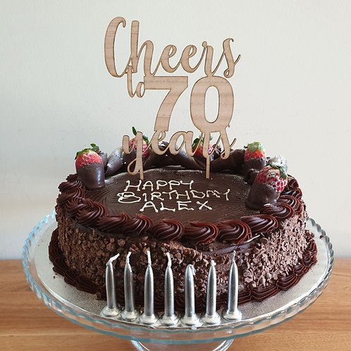 Cheers to 70 years Cake topper