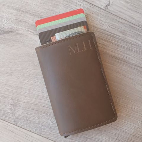 Personalised Leather Credit Card Holder/wallet with RFID Blocking