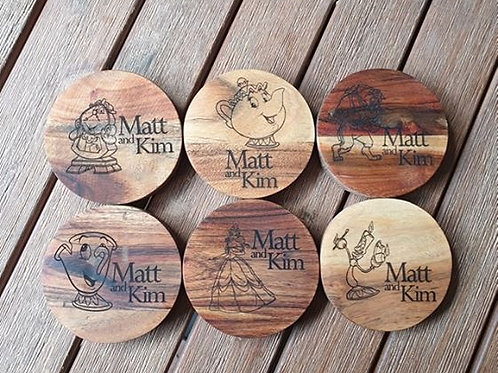 Personalised Beauty and the Beast Coasters (set of 6)