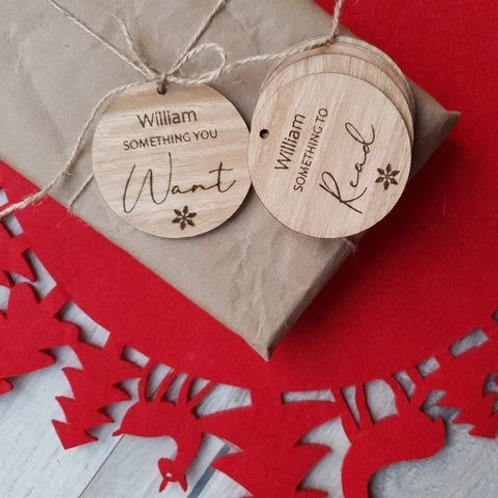 Personalised Read, Want, Wear, Need Christmas Tags