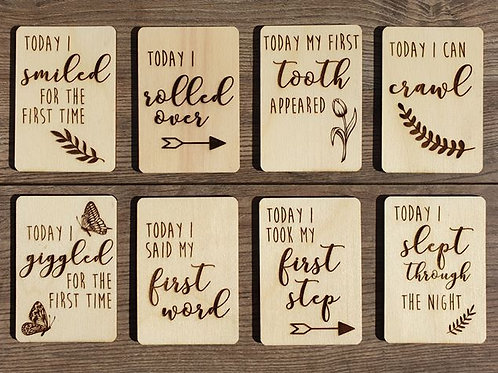 'My first' baby milestone wooden cards