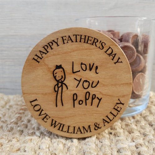 Personalised Father's Day Jar With Kids Drawing