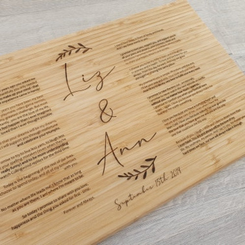 Personalised Vows Board