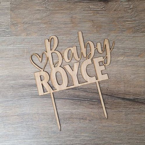 Personalised Baby with heart Cake topper