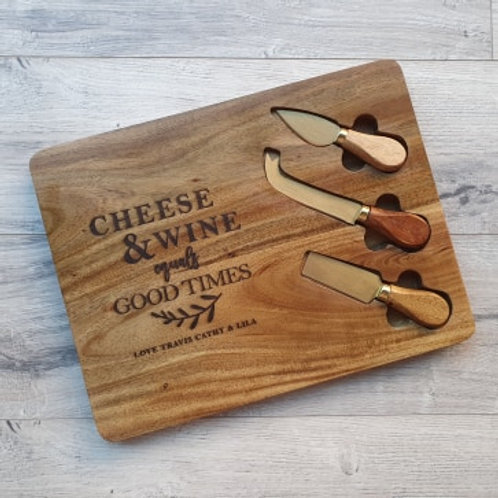 Personalised Cheese & Wine equals Good times board