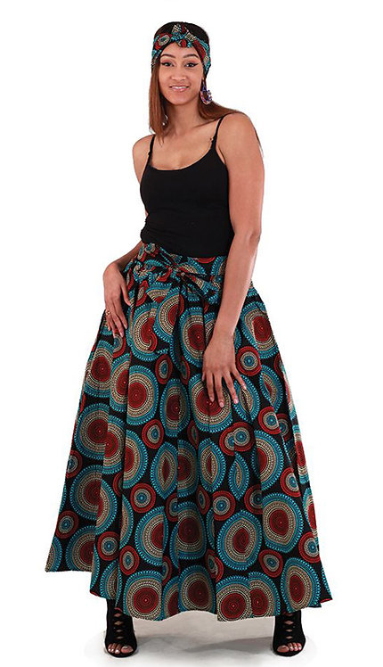 2pc Black Maxi Skirt With Red & Blue