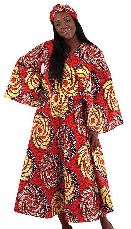 2pc Women's African Print Wrap Dress