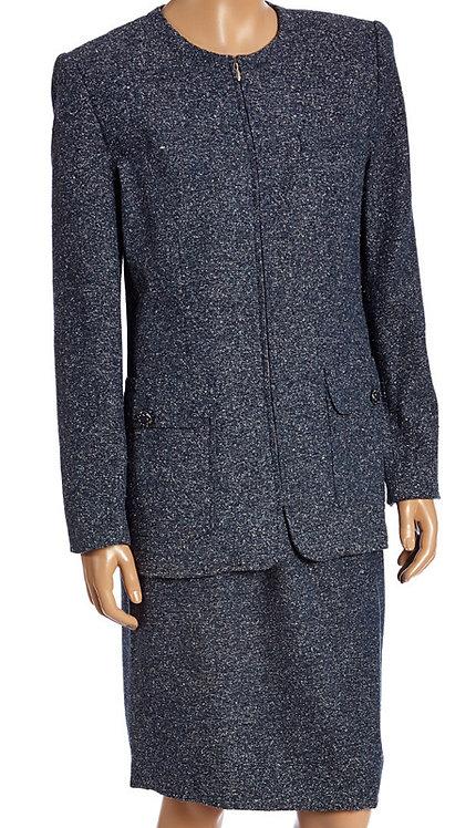 2pc Silk And Tweed Blend Career Suit