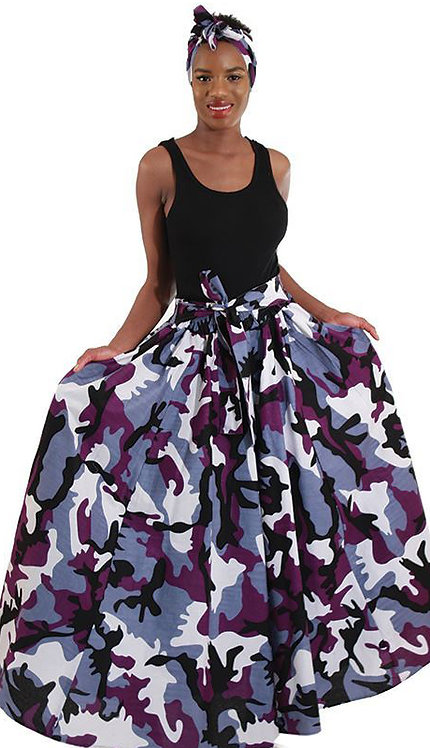 2pc Print Maxi Skirt With Head Scarf