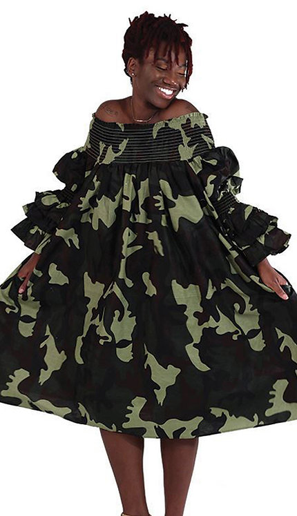 1pc Green Camo Smocking Dress