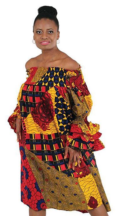 1pc African Print Smocking Dress