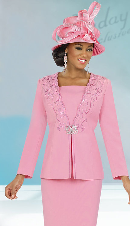3pc Peach Skin Skirt Suit