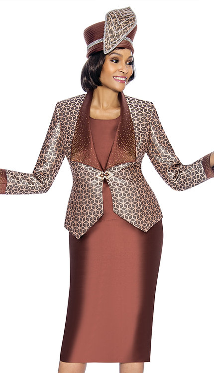 3pc Shantung With Brocade Lady Suit
