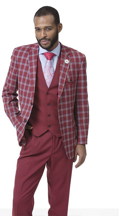 3pc Checkered Mens Suit