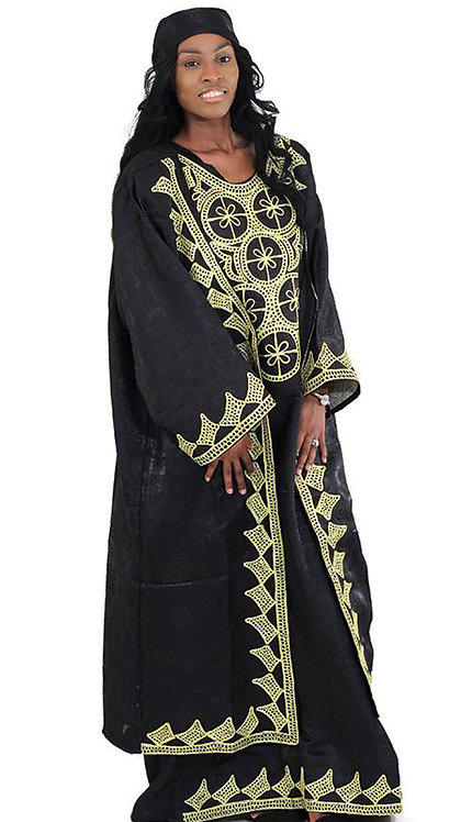 3pc Dress And Jacket With Head Wrap